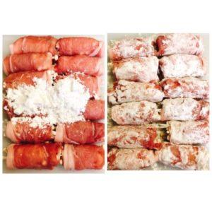 豚肉のえのき巻き片栗粉
