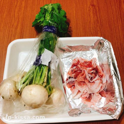 トロトロかぶと豚肉の甘辛炒め煮レシピの材料